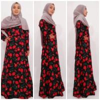 gamis wanita flower black-red