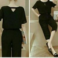 jumpsuit hitam pendek
