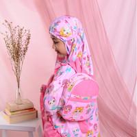 Mukena Anak-Anak Bahan Katun Lol Surprise Pink ( Tas Ransel Bulat )