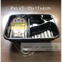 Tray Bento / Bento Box / Mika Bento + Tutup (isi 50set) HITAM