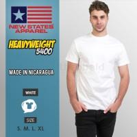 Kaos Polos New States Heavyweight 5400 (WHITE, Size S-XL)