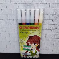 Spidol Snowman 6 Coloring Markers Pencil Type - 6 Warna
