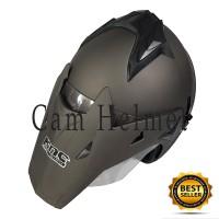Helm Motor SNI 2 kaca semi KNC Trail cross Grey doff bukan JPX