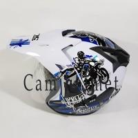 Helm motor SNI 2 kaca KNC trail NX 4 Trail White blue