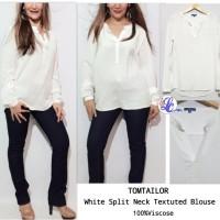 TOMT Split Neck Taxtetud White Blouse brand murah
