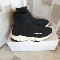 Promo Sepatu Slip On Balenciaga Top Speed Trainer Black White Black
