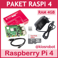Paket Raspberry Pi 4 RAM 4GB Siap Pakai Raspi Pi4 Made in UK