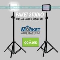 Paket Lampu Studio Foto LED HD-160 Video Lighting + Light Stand 2meter