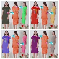 Daster Bali Bambu Kaos Adem Longdress Maxi Jumbo Fit to XL