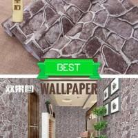 Grosir Termurah Wallpaper Sticker Dinding Batu alam hitam modern 10 M