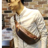 Sling bag cowok / Tas Selempang Pria / Tas import Kulit MB0782 MB0783 - Cokelat