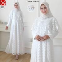 AGNES Baju Gamis Putih Wanita Brukat Busana Muslim Lebaran Umroh #809