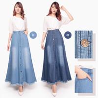Kaira Rok jeans maxi payung panjang wanita jumbo fit to L