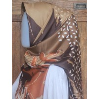 Hijab Voal Segiempat motif - Coklat