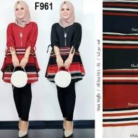 F961 TUNIK Waffle Lemon SKin Teball baju atasan wanita muslim garis