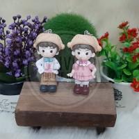 gantungan kunci couple topi coklat gantungan kunci sepasan topi coklat