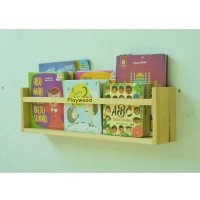 Rak dinding tempat buku/majalah kayu jati belanda Finishing Natural - Large