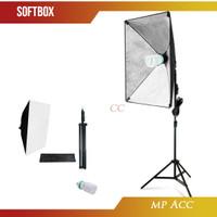 Payung Softbox Reflektor Fotografi Studio 50x70cm + Bohlam 45W + Stand