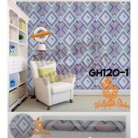 Grosir Termurah Wallpaper Sticker Dinding KotakKotak Garis Biru 10 M