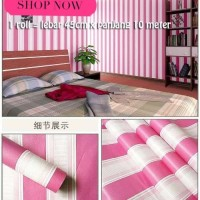 Grosir Termurah Wallpaper Sticker Dinding Garis salur pink putih 10 M