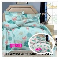 Bed cover Set Motif Flamingo Sumer Tosca Dan Putih Katun Lokal