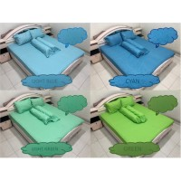Bed Cover Sprei Set 160x200x30 Polos Emboss No.2 Queen Size