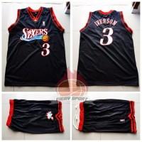 Stelan Jersey Basket NBA Sixers Hitam Allen Iverson