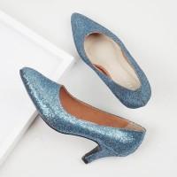 Guzzini MN 514 Biru - Sepatu Heels Glitter Wanita