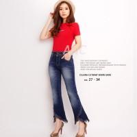 Celana Cutbray Jeans Jumbo Wanita - Cutbray Snow Dark Navy Jumbo DMD