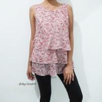 preloved floral print layered top import / atasan blouse korean look