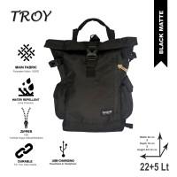 Tas Punggung Ransel Gulung Rolltop Backpack Rucksack- Brave Troy Black