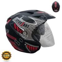 Helm Motor SNI 2 kaca Jp-7 Sport black doff red double visor bukan ink