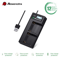 Powerextra Smart LCD Dual Charger NP-F970 NP-F570 BC-V615 for Sony