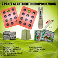 Starter Kit Hidroponik Sistem Wick 2 Set 24 Lubang Free TDS Meter