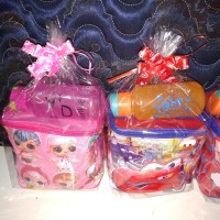 Paket souvenir ulang tahun tas kubus dan botol minum