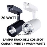 Lampu Track Rell 20W COB Spot Sorot 20 w watt rel trek LED hitam putih