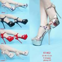 Sepatu Pesta High Heels Silver Gold Hitam Cream Merah hak 15cm KY1402