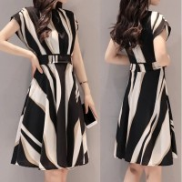 Dress Belt O-Neck Short Sleeve Knee Length Dress