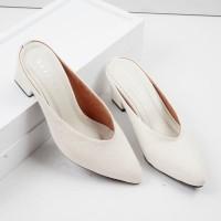 Guzzini MN 512 Cream - Sepatu Bustong Denim Mules Wanita