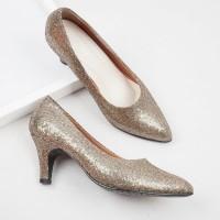 Guzzini MN 514 Gold - Sepatu Heels Glitter Wanita