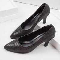 Guzzini MN 514 Hitam - Sepatu Heels Glitter Wanita