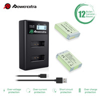 Powerextra Baterai (2-Pack) Canon NB-13L and Smart Dual Charger LCD