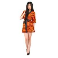 L-689 Orange Black Leopard Lingerie Kimono