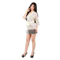 L-684 - Lingerie Abstract Flower Pattern Kimono