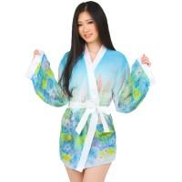 L-791 Rainbow Flower Garden Lingerie Kimono