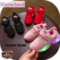 Sepatu Sekolah Anak 31-36 Kado Hadiah Sneakers Lampu Led Nyala Unisex