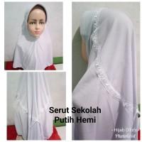 Jilbab Anak Kaos Super Sekolah Serut Putih Hemi SD