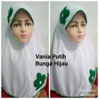 Jilbab Anak Kaos Super Sekolah Vania Putih Bunga Hijau SD