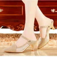 sepatu pesta wanita glitter gold silver high heels elegan Een14dw