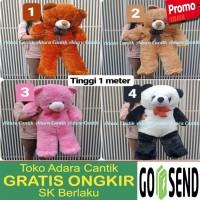 Boneka Jumbo Teddy Bear 1 Meter dan 90 cm Cantik Imut Lucu Hadiah Kado - hitam putih, sembilan puluh